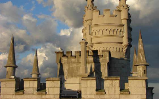building, castle, stars,