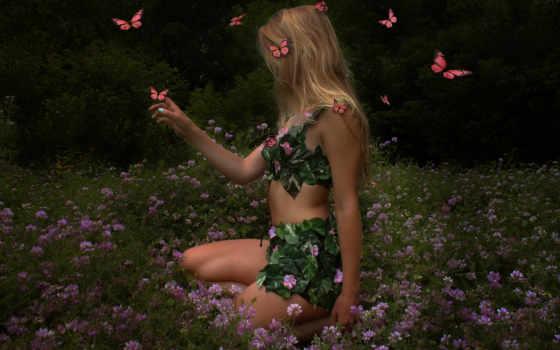 девушка, summer, цветов, among, природа, бабочек, бабочки, волосы, cvety,