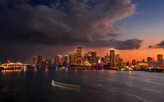 ,, blue hour, Майами, закат, горизонт, город, здание, городской пейзаж
