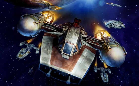 крыло, starfighter, war, star, art, millennium, falcon, космос, война, истребитель, цветы