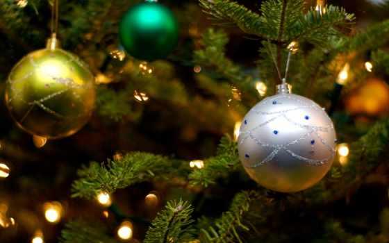 новогодние, год, шарики