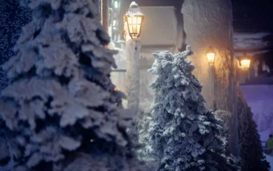 снег, winter, красавица, нов, lamps, high,