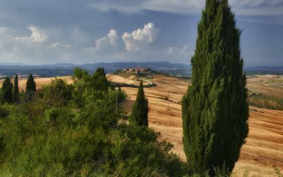 tuscany, italy, холмы, дорога, дома,