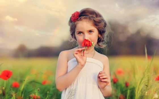 девушка, ребенок, цветы