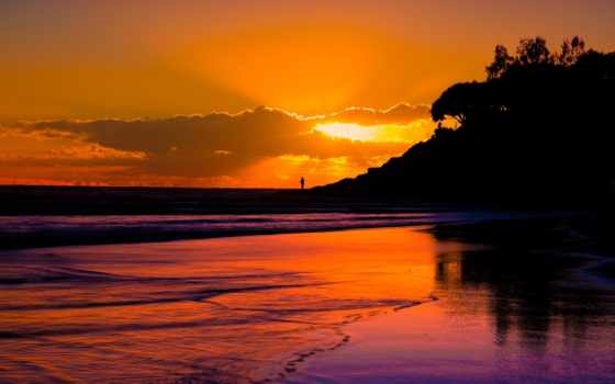 закат, австралия, zakat, квинсленд, море, силуэты, острове, бесплатные, пляжи, страдброук, queensland,