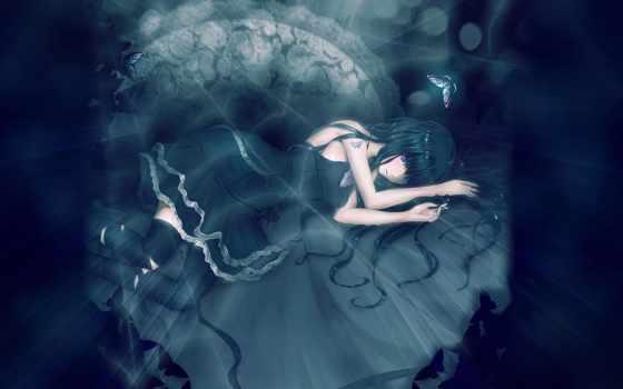 anime, девушка, бабочки, платье, world, картинка, art, свет, крылья,