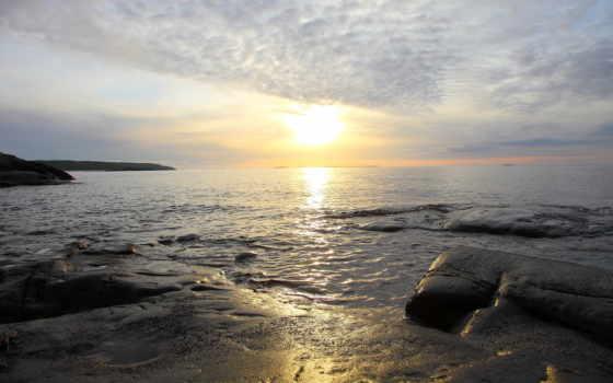 horizonte, хороший, утро, сол, del,