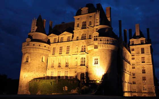 brissac, château, loire, chateau, nuit, son, une,