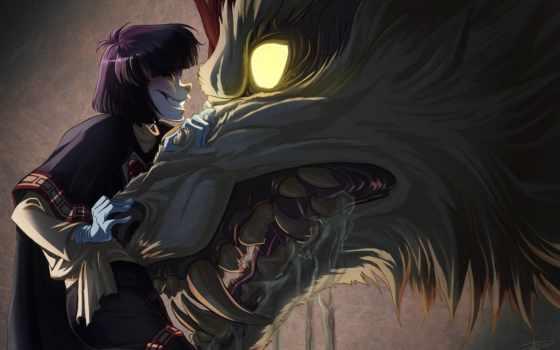 волк, свет, ухмылка, anime, клыки, пасть, слюни, art, горящие, favourite, aliexpress,
