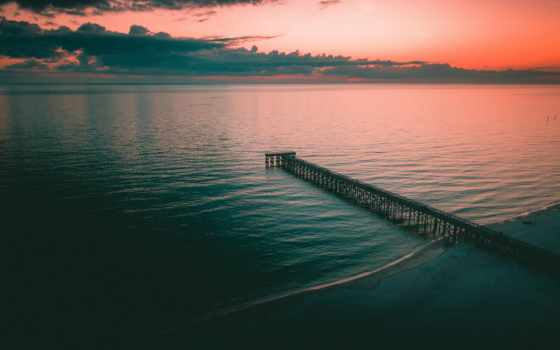 коллекция, берег, море, причал, сумерки, pier