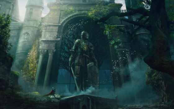 art, fantasy, рыцарь, статуя, digital, artwork, castle, доспех, gate, меч, щит
