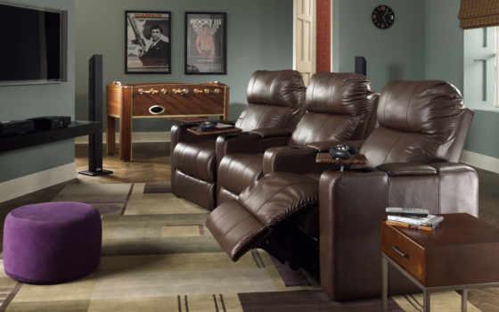 кресла, кожаные, дом