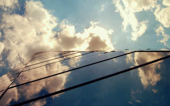 небоскрёб, небо, уходящий