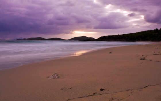 пляж, вечер, берег, море, песок, закат, puerto, rico, culebra, остров,