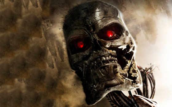 терминатор, robot, череп, голова, фильмы, dark, фантастика,