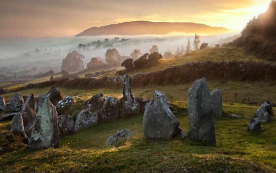 природа, великобритания, осень, камни, туман, trees, холмы,