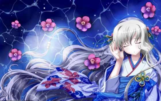 anime, девушка, кимоно