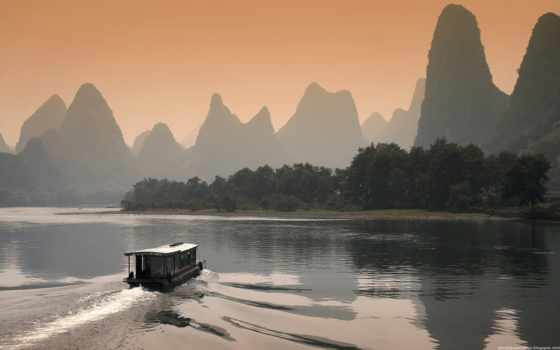 li river at dusk in guilin china