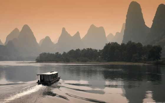 li river at dusk in guilin china