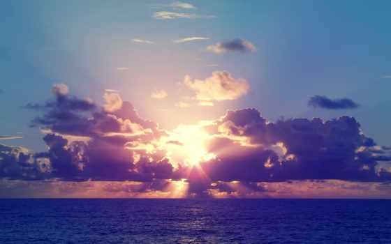 небо, закат, море