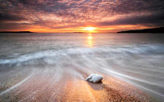 закат, море, waves, небо, берег, water, камни, красивые, красивый, пляж, природа,