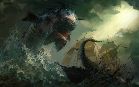 море, fantasy, art, monster, monsters, дракон, pinterest,