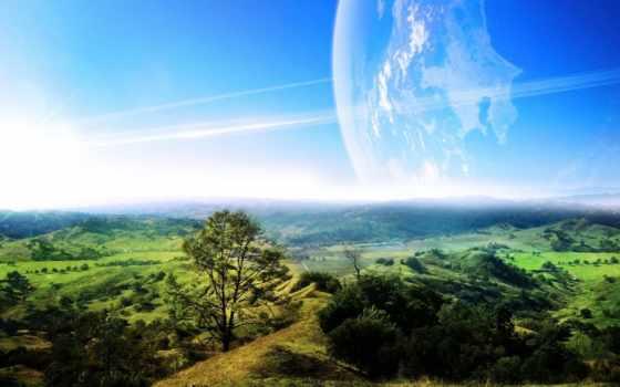 landscape, космос, зелёный