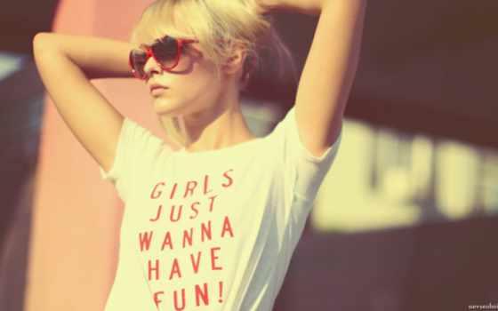 девушка, очки, blonde
