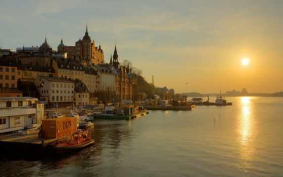 stockholm, sweden, город, река, города,