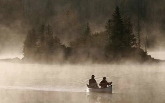 canoe, canoë, озеро, cultural, природа, fonds, рассвет,