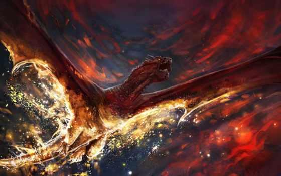 art, дракон, крылья, драконы, небо, fantasy, огонь, oblaka, смерть,