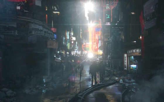 город, sci, cyberpunk