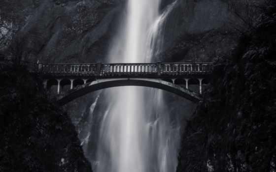 мост, водопад, white, black, гора, high, фон, фото, height,