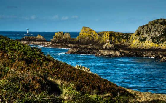 bretagne, море, франция, побережье, трава, природа, fondos,