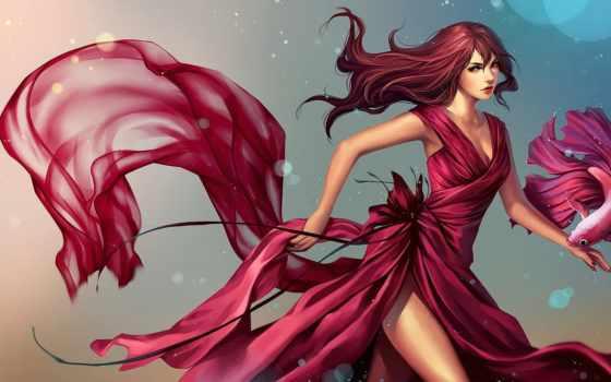 art, девушка, fish, платье, картинка, петушок, anime, девочки, devushki, красивые,