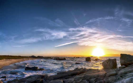 hdr, пляж, sunshine, sun, два, серый, природа, камень, landscape, matahari