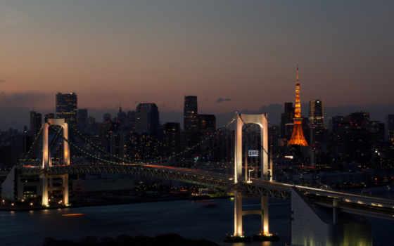 город, огни, вечер