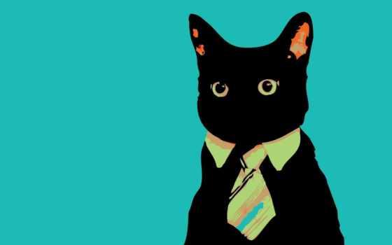 ,кот, галстук, голубой, абстракция,