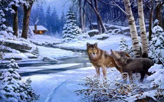 волки, коллекция, рисунки