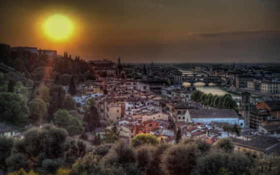 firenze, город, italy, florence, дома, landscape, закат,