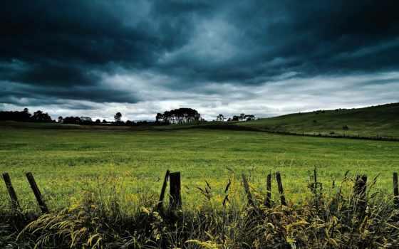 hill, clouds, landscape