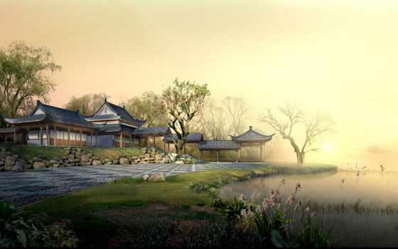 китайские, china, строения, графика, дома,