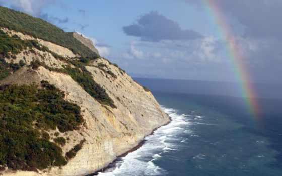 landscape, фотообои, дек, радуга, dyurso, розовые, горы, супер, море, красивые, пейзажи -,