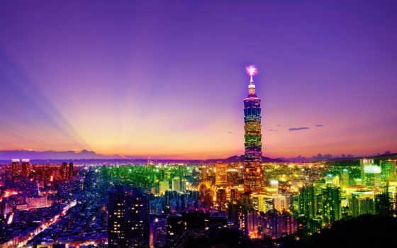 небоскребы, город, города, taipei, вечер, небоскрёб, мост, ночь, люди, огни,