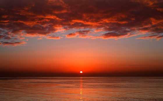 закат, море, sun, red, моря, красное,