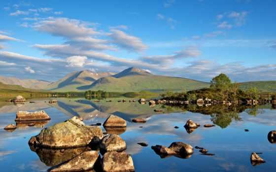 water, hill, clouds, landscape, like, камень, desktop, трава, рейтинг,