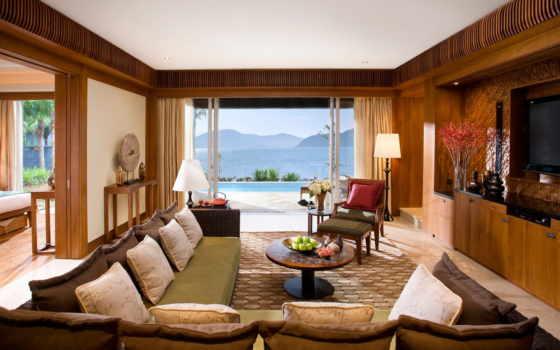 комната, диван, тв, sanya, кровать, комнаты, окно, лампа, взгляд, oriental,