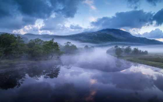 туман, великобритания, холмы, утро, afon, glaslyn, горы, wales, река, reki,