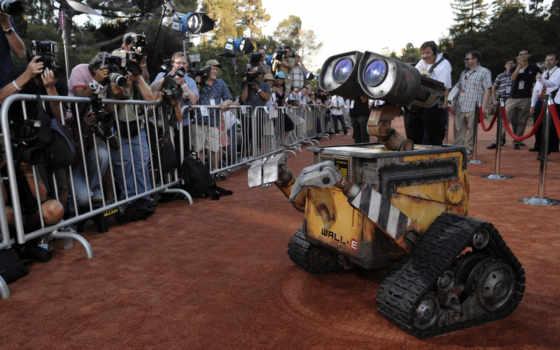 валли, роботы, премьере, фотографируют, папараци, робота, мультика, ковёр, свой,