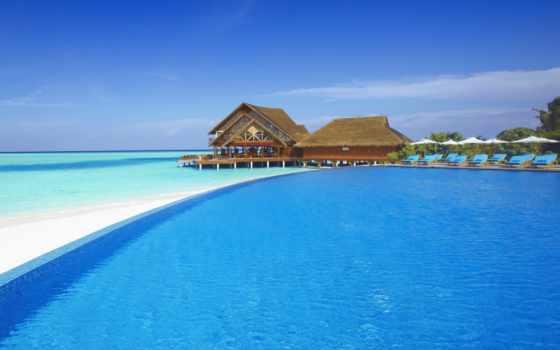 море, maldives, пляж, остров, бассейн, ocean, красивые, tropics, рай, пляжи,